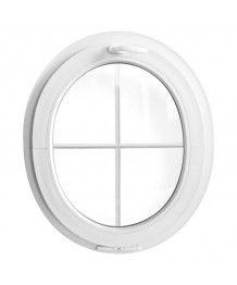 Finestra ovale a vasistas oblò in PVC Bianco con inglesina (verticale)