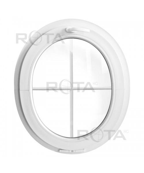 Finestra ovale a vasistas oblò in PVC Bianco con inglesine interno
