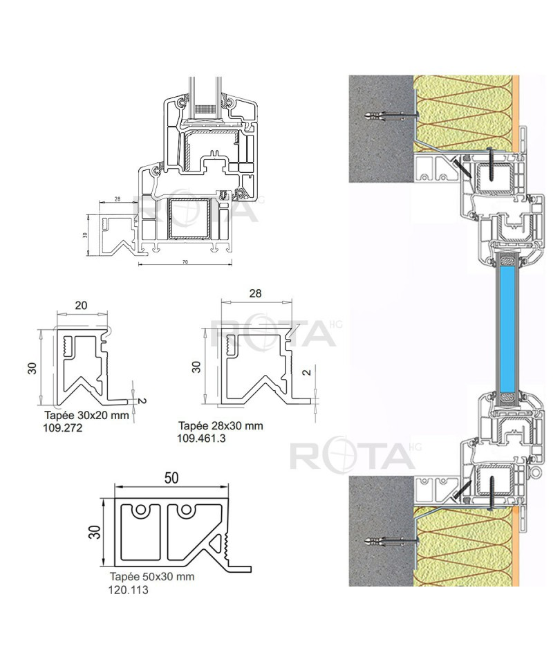 profilo isolante in pvc per le finestre rotonde semicircolari ovali. Black Bedroom Furniture Sets. Home Design Ideas