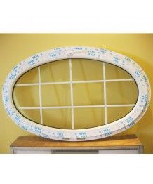 Finestra ovale a vasistas 1600x900 oblò in PVC Bianco con inglesine interno