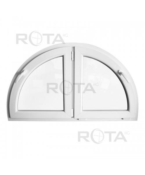 Finestra semicircolare a due ante 1350x750mm in PVC Bianco