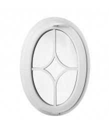 Finestra ovale a vasistas oblò in PVC Bianco con inglesina adesiva