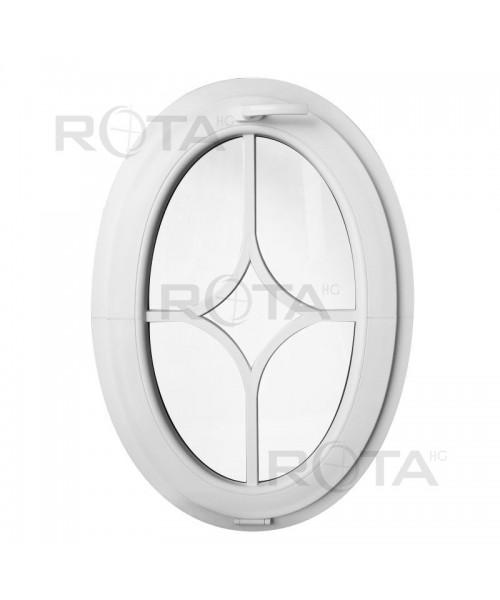 Finestra ovale a vasistas oblò in PVC Bianco con inglesina