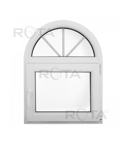 Finestra ad arco 660x860 ad anta-ribalta in PVC Bianco
