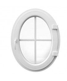 Finestra ovale a battente oblò con inglesine PVC Bianco