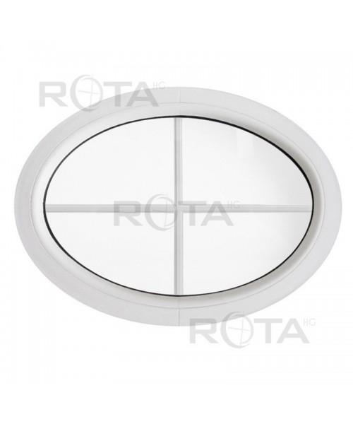 Finestra ovale fissa orizzontale PVC bianco con inglesina interna