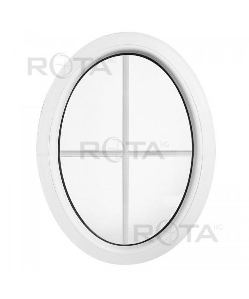 Finestra ovale fissa verticale in PVC con inglesina interna PVC bianco