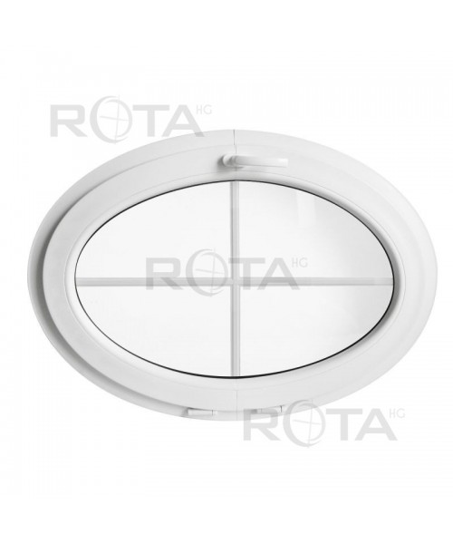 Finestra ovale a vasistas oblò con inglesina interna PVC bianco (orizzontale)