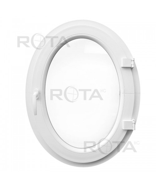 Finestra ovale a vasistas oblò in PVC Bianco (verticale)