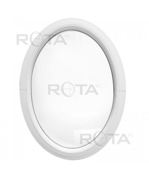 Finestra ovale fissa verticale in PVC bianco