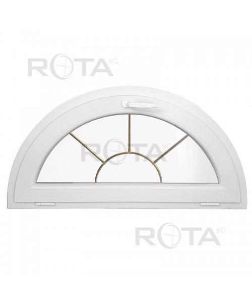 Finestra semicircolare a vasistas con inglesine interno oro PVC bianco