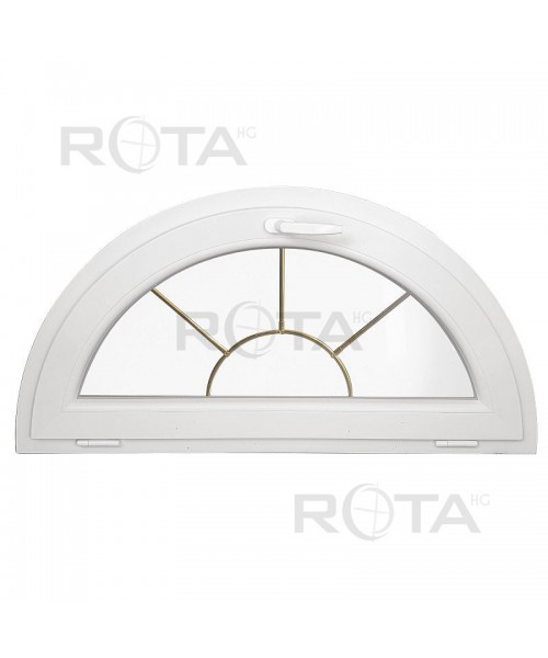 Finestra semicircolare a vasistas PVC bianco con inglesine interno motivo sole