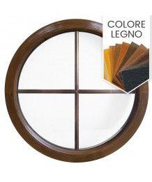 Finestra rotonda fissa PVC colore legno con inglesine interne