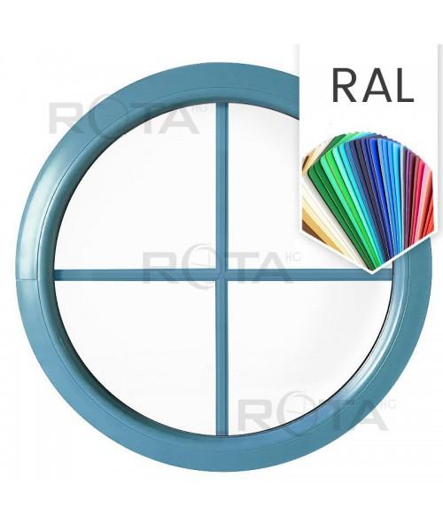 Finestra rotonda oblò fisso in PVC colore RAL con inglesine interne