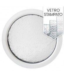Finestra rotonda fissa in PVC bianco con vetro stampato