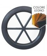 Finestra rotonda oblò fisso PVC colore legno con inglesine incollate motivo stella