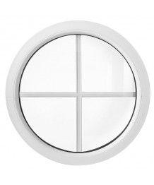 Finestra rotonda oblò fisso in PVC bianco con inglesine interne