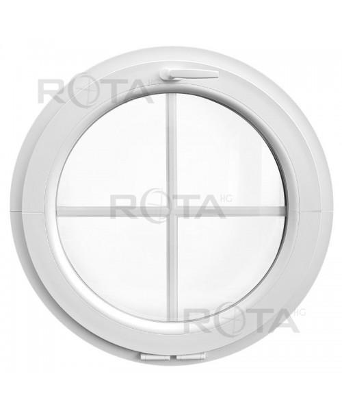 Finestra rotonda oblò a vasistas PVC Bianco con inglesine interne