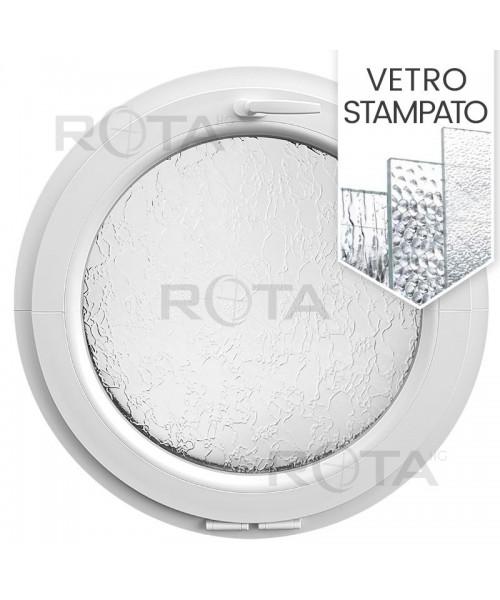 Finestra rotonda oblò a vasistas PVC bianco con vetro stampato