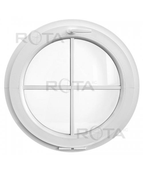 Finestra rotonda oblò a vasistas PVC bianco con inglesine incollate