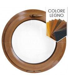 Finestra rotonda oblò a vasistas PVC colore legno