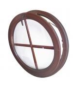 Finestra rotonda a vasistas PVC colore legno con inglesine interne