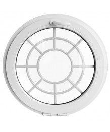 Finestra rotonda a vasistas PVC bianco con inglesine motivo ragnatela
