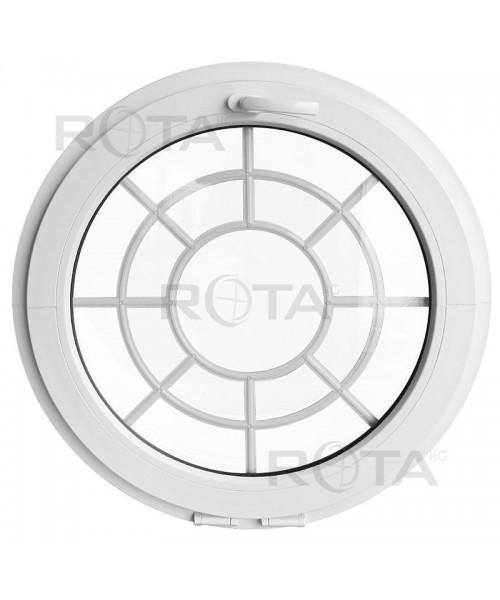 Finestra rotonda a vasistas PVC bianco con inglesina interna ragnatela