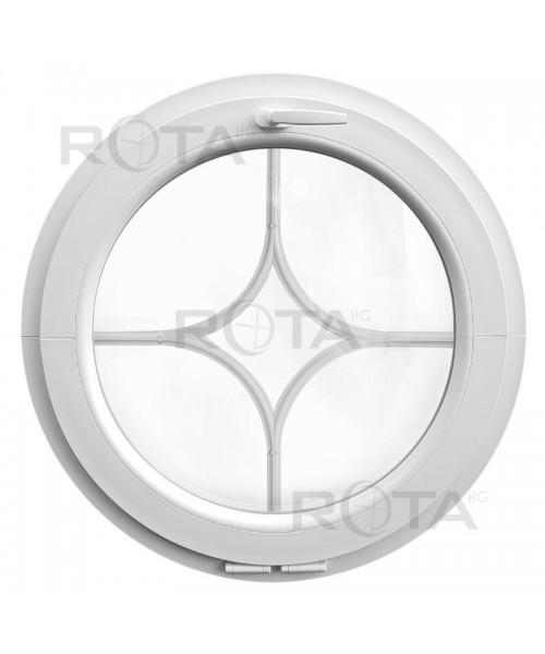 Finestra rotonda a vasistas in PVC bianco con inglesina interna stella