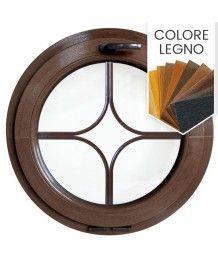 Finestra rotonda a vasistas PVC colore legno con inglesina interna motivo stella