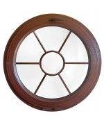 Finestra rotonda a vasistas PVC colore legno con inglesina interna motivo sole