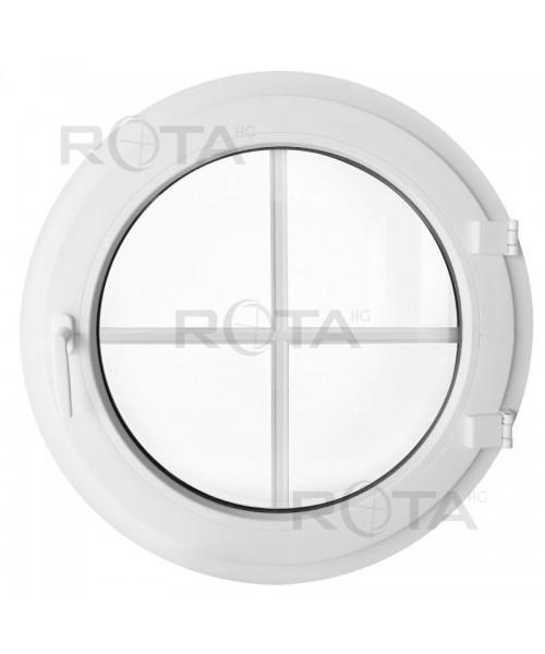 Finestra rotonda a battente in PVC bianco con inglesine interne