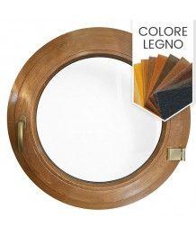 Finestra rotonda oblò a battente in PVC colore legno
