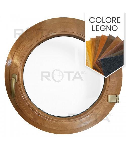 Finestra oblò a battente in PVC colore effetto legno