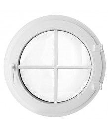 Finestra rotonda a battente in PVC bianco con inglesine incollate