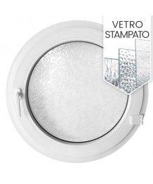 Finestra rotonda a battente in PVC bianco con vetro stampato