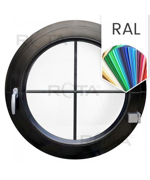 Finestra oblò a battente con inglesine interne PVC colore RAL