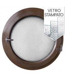 Finestra rotonda a battente PVC colore legno con vetro stampato