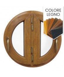 Finestra rotonda oblò a due ante a battente PVC colore legno