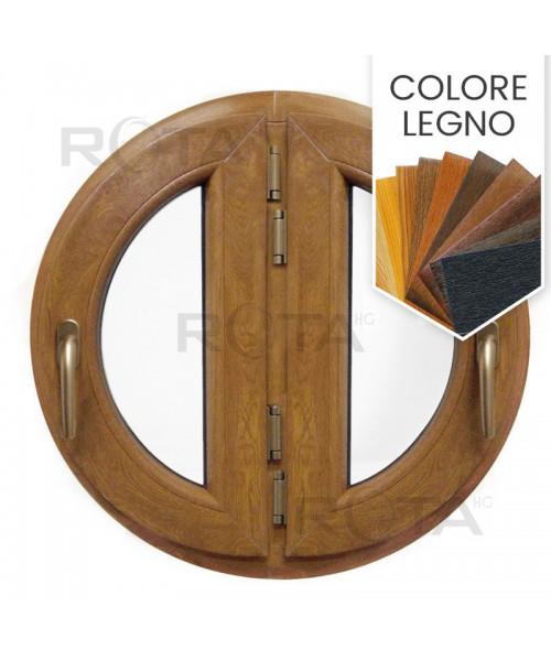 Finestra rotonda oblò a due ante a battente in PVC colore effetto legno