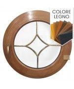 Finestra rotonda a battente PVC colore legno con inglesine interne
