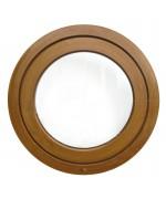 Finestra rotonda oblò a bilico in PVC colore effetto legno