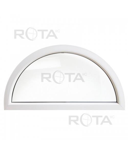 Finestra semicircolare mezzaluna fissa in PVC bianco