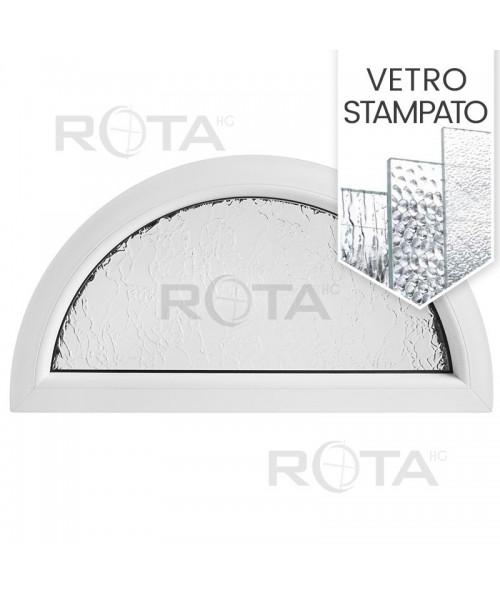 Finestra semicircolare mezzaluna fissa in PVC bianco con vetro stampato
