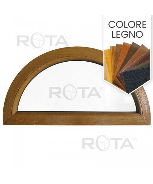 Finestra semicircolare mezzaluna fissa in PVC colore legno