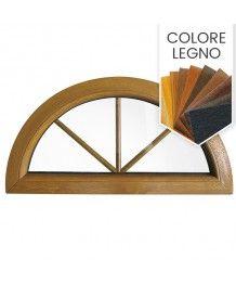 Finestra semicircolare fissa PVC colore legno con inglesine interne