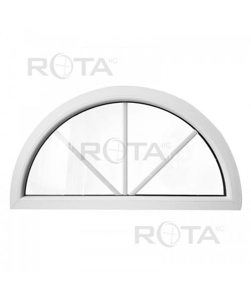 Finestra semicircolare mezzaluna fissa in PVC bianco con inglesine interne