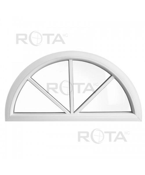 Finestra semicircolare mezzaluna fissa PVC bianco con inglesine incollate