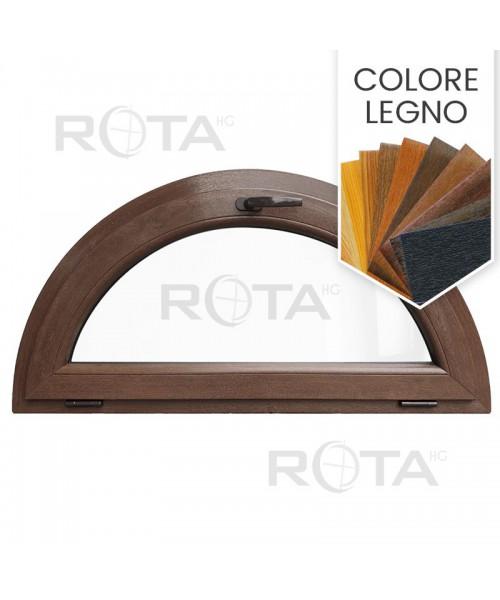 Finestra semicircolare a vasistas mezzaluna PVC colore legno