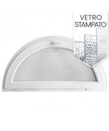 Finestra semicircolare a vasistas PVC bianco con vetro stampato